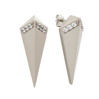 Sole Du Soleil Lupine 18k White Gold Plated Satin Finish Prism Earrings SDS20162EO