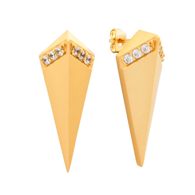 Sole Du Soleil Lupine 18k Rose Gold Plated High Polish Prism Earrings SDS20167EO