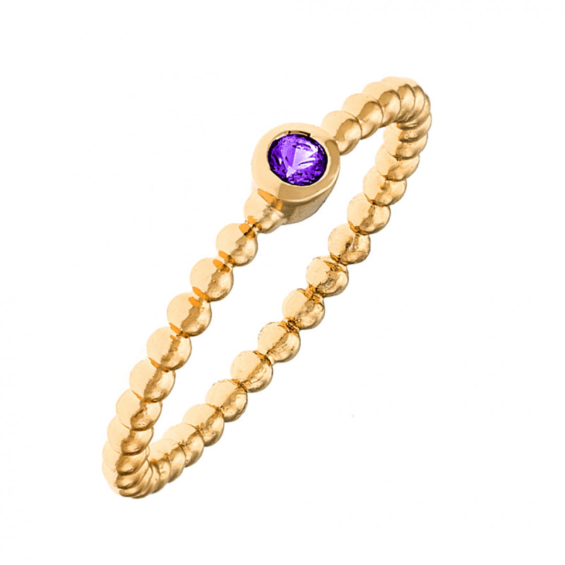 Sole Du Soleil Marigold 18k Yellow Gold Plated Purple Stone Stackable Ring SDS20172R7