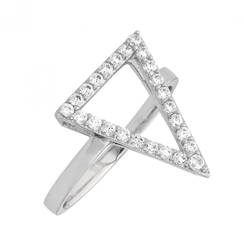 Sole Du Soleil Lupine 18k White Gold Plated Triangle Ring SDS20180R7