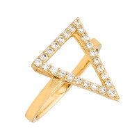 Sole Du Soleil  Lupine Or Jaune 18 Carats Plaqué Bague Triangle SDS20181R7