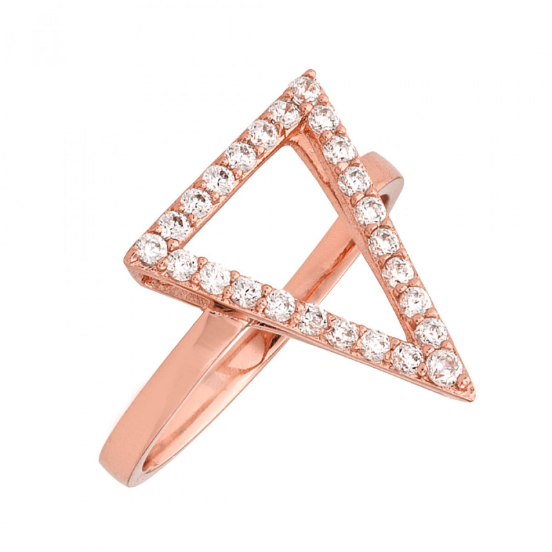 Sole Du Soleil Lupine 18k Rose Gold Plated Triangle Ring SDS20182R7