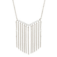 Sole Du Soleil Lily 18k White Gold Plated Chain Fringe Necklace SDS20205NO