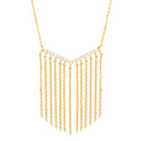 Sole Du Soleil Lily 18k Yellow Gold Plated Chain Fringe Necklace SDS20206NO