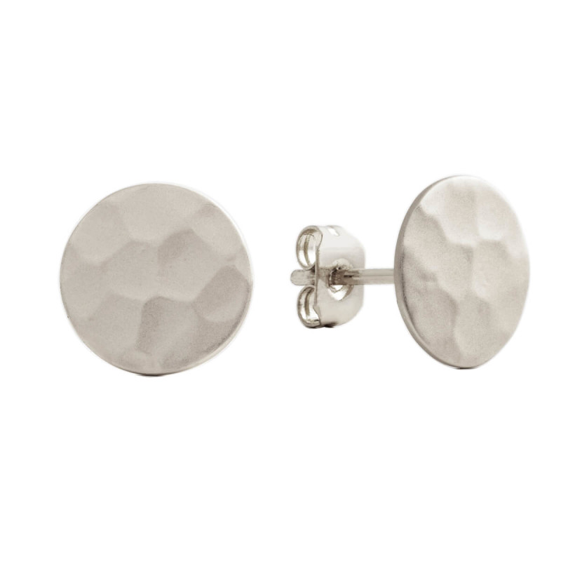 Sole Du Soleil Marigold 18k White Gold Plated Satin Finish Hammered Circle Stud Earrings SDS20235EO