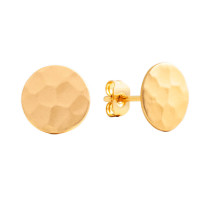 Sole Du Soleil Marigold 18k Yellow Gold Plated Satin Finish Hammered Circle Stud Earrings SDS20236EO