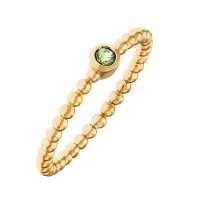 Sole Du Soleil Marigold 18k Yellow Gold Plated Green Stone Stackable Ring SDS20259R7