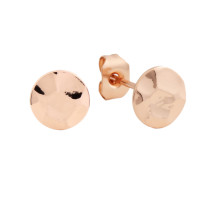 Sole Du Soleil Marigold 18k Rose Gold Plated Hammered Circle Stud Earrings SDS20289EO