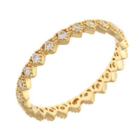 Sole Du Soleil Lupine 18k Yellow Gold Plated Geometric Heart Stackable Ring SDS20297R7