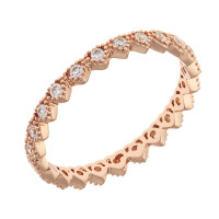 Sole Du Soleil Lupine 18k Rose Gold Plated Geometric Heart Stackable Ring SDS20298R7