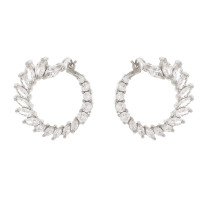 Sole Du Soleil Hydrangea 18k White Gold Plated Flared Hoop Earrings SDS20299EO