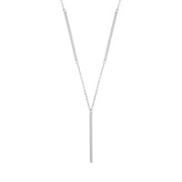 Sole Du Soleil Lily 18k White Gold Plated Y Bar Necklace SDS20308NO