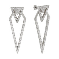 Sole Du Soleil Lupine 18k White Gold Plated Geometric Ear Jacket Earrings SDS20317EO