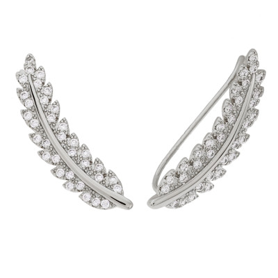 Sole Du Soleil Lily 18k White Gold Plated Leaf Crawler Earrings SDS20324EO