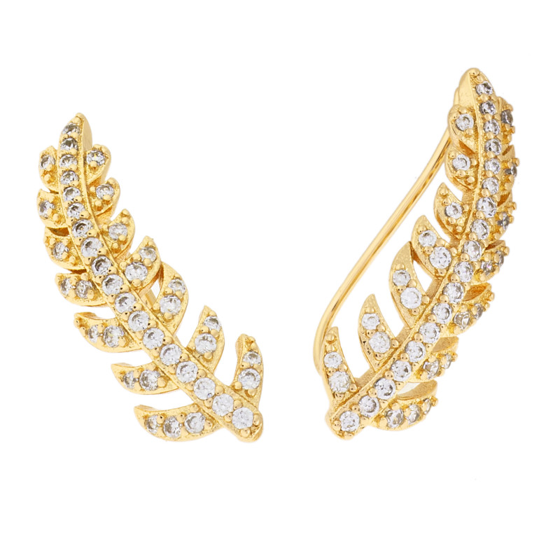 Sole Du Soleil Lily 18k Yellow Gold Plated Leaf Crawler Earrings SDS20325EO