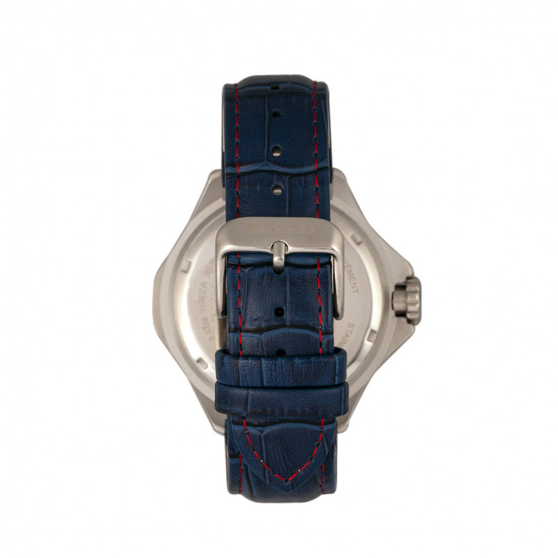 Breed Tempe Leather-Band Watch w/Day/Date - Blue/Silver BRD6903