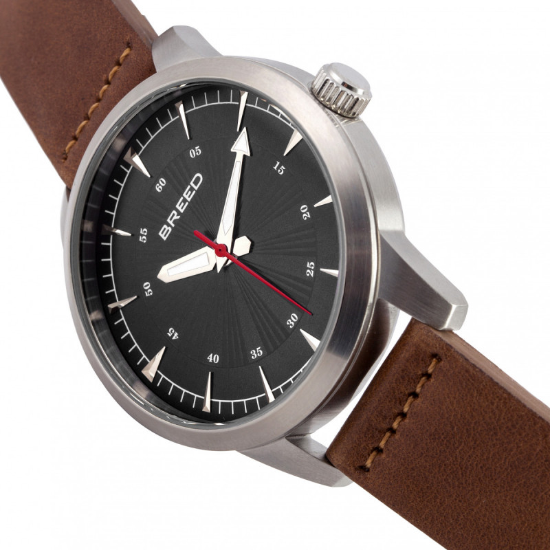 Breed Renegade Leather-Band Watch - Black/Brown BRD7705