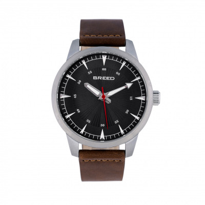 Breed Renegade Leather-Band Watch - Black/Brown