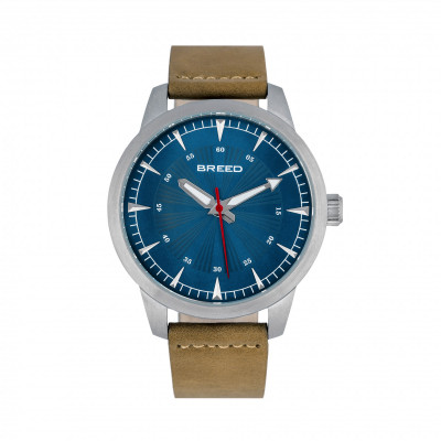 Breed Renegade Leather-Band Watch - Blue/Brown