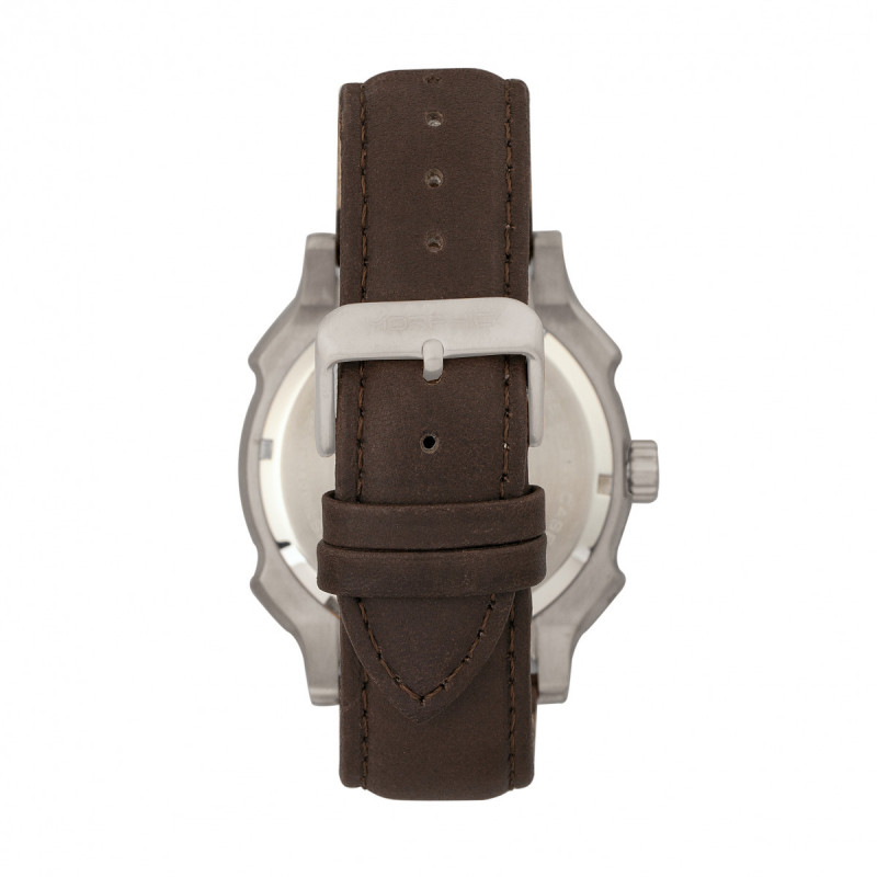 Morphic M68 Series Leather-Band Watch w/ Date - Silver/Brown MPH6803