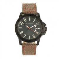 Morphic M70 Series Canvas-Overlaid Leather-Band Watch w/Date - Rose Gold/Brown MPH7004