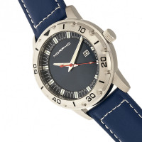 Morphic M71 Series Leather-Band Watch w/Date - Silver/Blue MPH7102