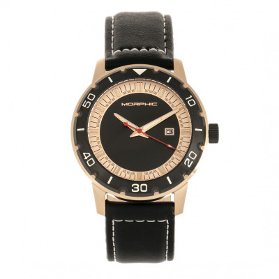 Morphic M71 Series Leather-Band Watch w/Date - Rose Gold/Black MPH7104