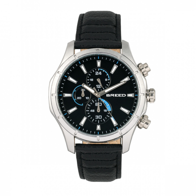 Breed Lacroix Chronograph Leather-Band Watch - Silver/Black BRD6801