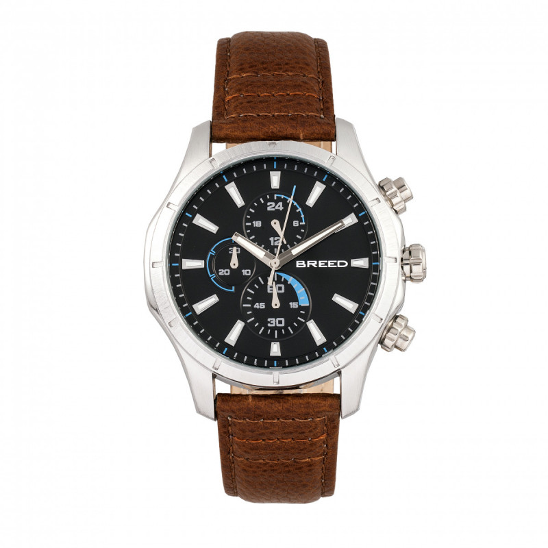 Breed Lacroix Chronograph Leather-Band Watch - Silver/Brown BRD6802