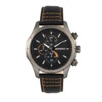 Breed Lacroix Chronograph Leather-Band Watch - Gunmetal/Black BRD6804