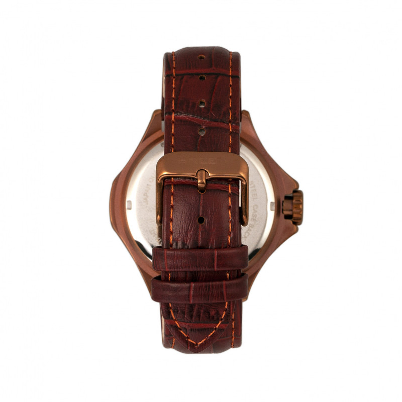 Breed Tempe Leather-Band Watch w/Day/Date - Brown/Bronze BRD6906