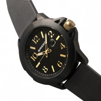 Breed Bryant Leather-Band Watch w/Date - Black/Gold BRD7105