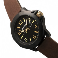 Breed Bryant Leather-Band Watch w/Date - Brown/Gold BRD7106