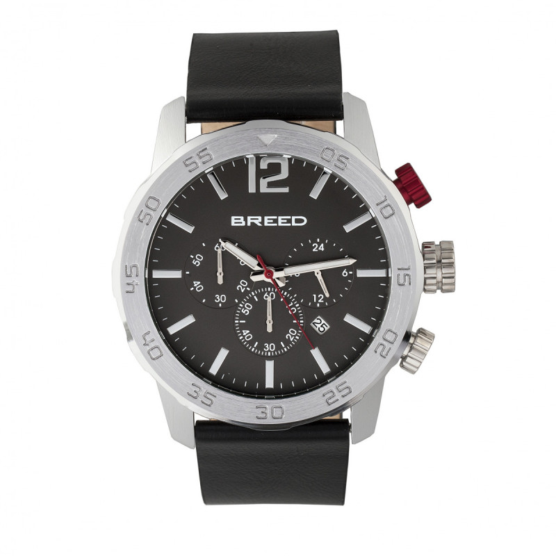 Breed Manuel Chronograph Leather-Band Watch w/Date - Silver/Black BRD7202