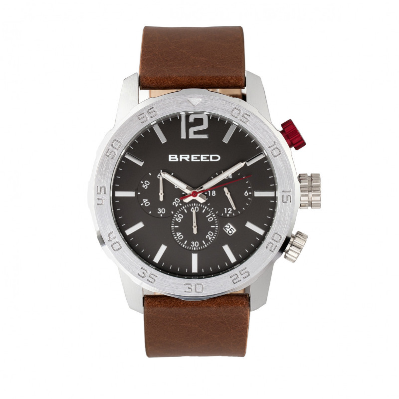 Breed Manuel Chronograph Leather-Band Watch w/Date - Silver/Brown BRD7203