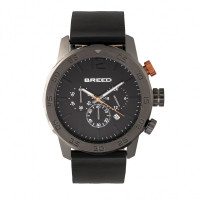Breed Manuel Chronograph Leather-Band Watch w/Date - Gunmetal/Silver BRD7204