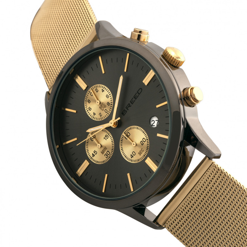 Breed Espinosa Chronograph Mesh-Bracelet Watch w/ Date -Gold/Gunmetal BRD7603