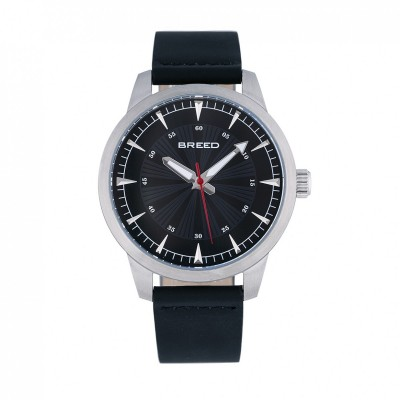 Breed Renegade Leather-Band Watch - Black