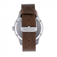 Breed Renegade Leather-Band Watch - Grey/Brown BRD7703