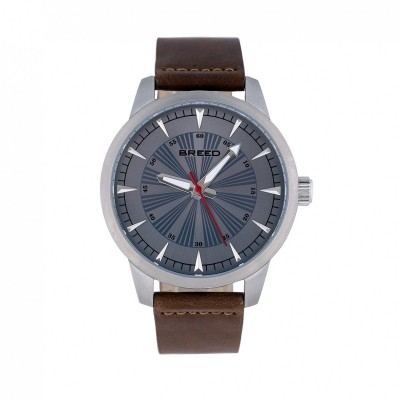 Breed Renegade Leather-Band Watch - Grey/Brown