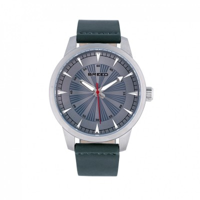 Breed Renegade Leather-Band Watch - Grey/Pine