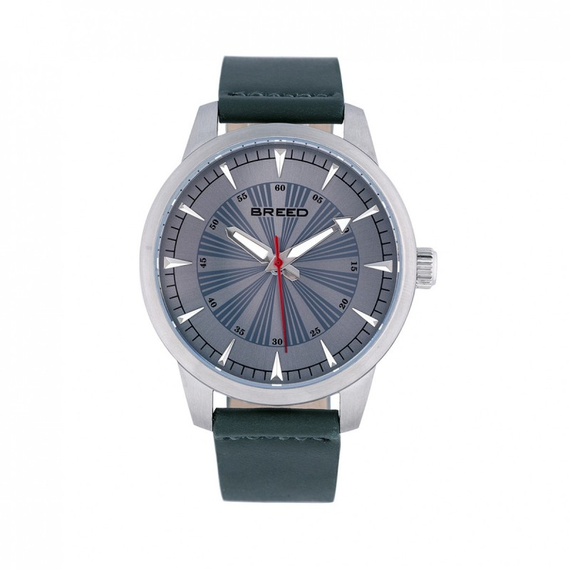 Breed Renegade Leather-Band Watch - Grey/Pine BRD7704