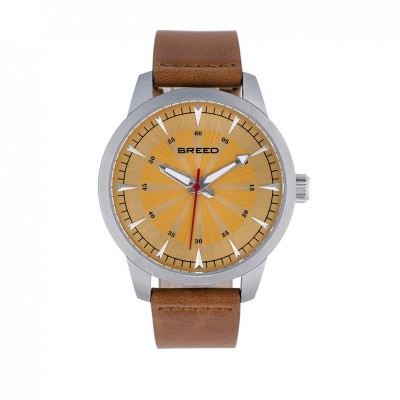 Breed Renegade Leather-Band Watch - Orange/Brown