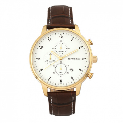 Breed Holden Chronograph Bracelet Watch w/ Date - Silver/Black BRD7802
