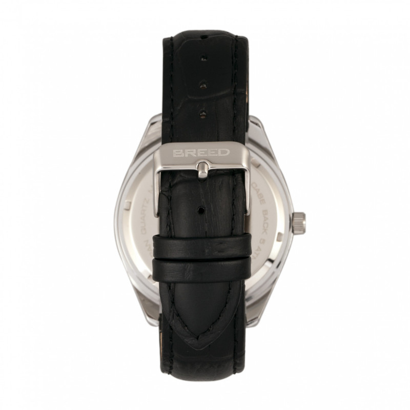 Breed Louis Leather-Band Watch w/Date - Silver BRD7901