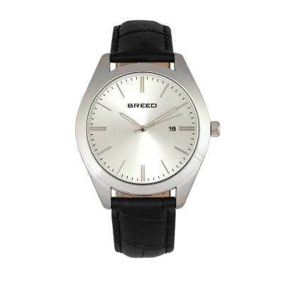 Breed Louis Leather-Band Watch w/Date - Silver/Black BRD7902
