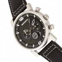 Breed Ryker Chronograph Leather-Band Watch w/Date - Black BRD8202