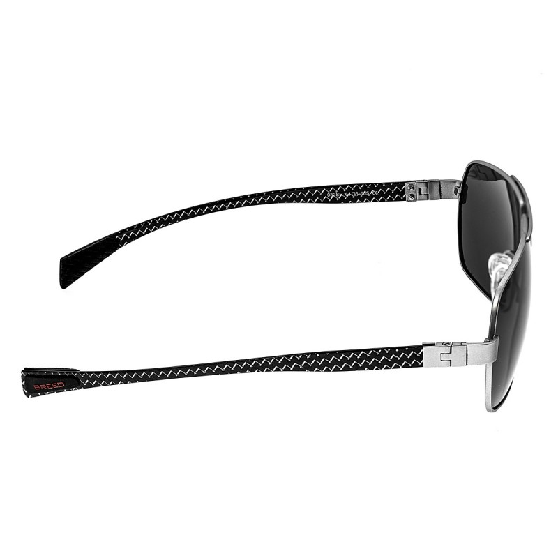 Breed Sagittarius Titanium Polarized Sunglasses - Silver/Black BSG032SR
