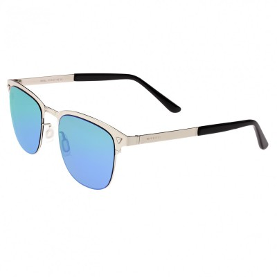 Breed Archer Polarized Sunglasses - Silver/Blue-Green BSG050SL