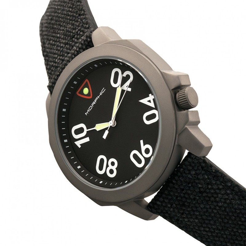 Morphic M41 Series Canvas-Overlaid Leather-Band Men's Watch - Black MPH4101